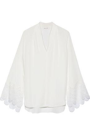 ELIE TAHARI Gaia lace-trimmed silk crepe de chine blouse