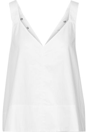 TIBI Snap-detailed cotton-poplin top