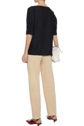 TIBI Ruched crepe blouse