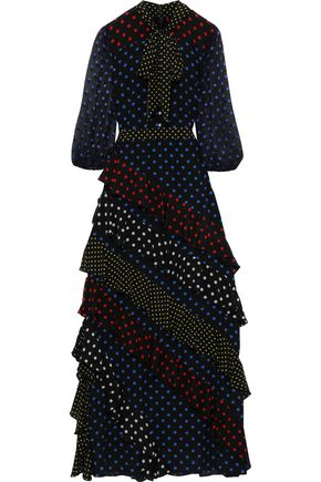 ALICE + OLIVIA Lessie polka-dot silk crepe de chine and fil coupé maxi dress