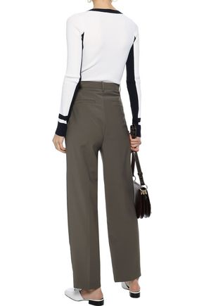 TIBI Two-tone ribbed-knit sweater