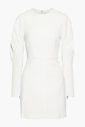 TIBI Florence gathered twill mini dress