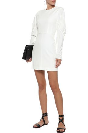 Tibi Woman Florence Gathered Twill Mini Dress Off-White