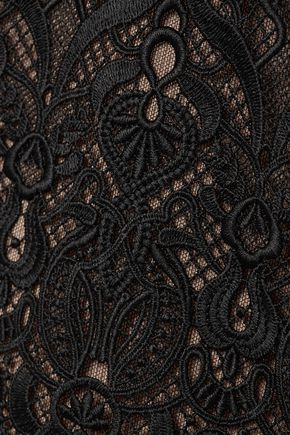 JONATHAN SIMKHAI Fluted guipure lace and tulle midi dress