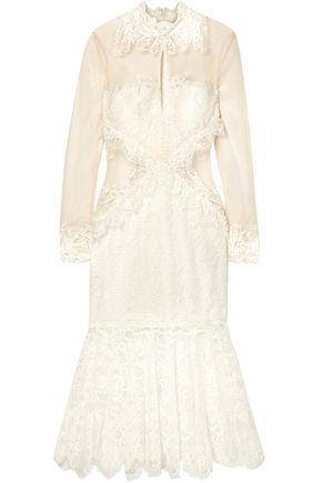 JONATHAN SIMKHAI Lace and mesh midi dress