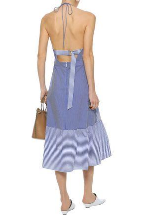 TIBI Collage striped cotton-blend poplin halterneck midi dress