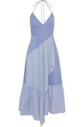 TIBI Collage striped cotton-blend poplin halterneck midi dress