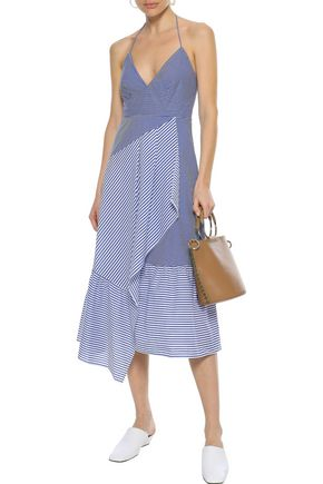 Tibi Woman Collage Striped Cotton-Blend Poplin Halterneck Midi Dress Blue