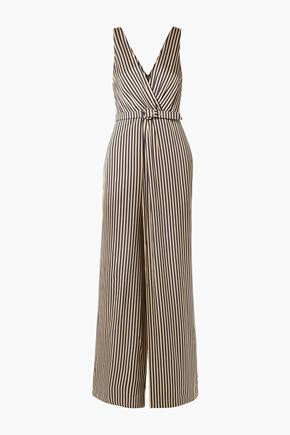 JONATHAN SIMKHAI Wrap-effect striped sateen jumpsuit