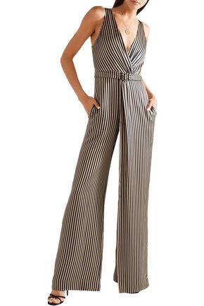 JONATHAN SIMKHAI Wrap-effect striped sateen jumpsuit