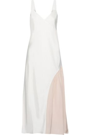 TIBI Crepe de chine-paneled twill midi dress