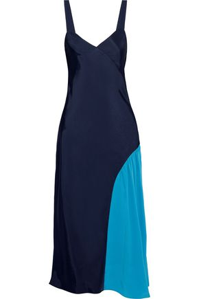 TIBI Crepe de chine-paneled twill midi slip dress