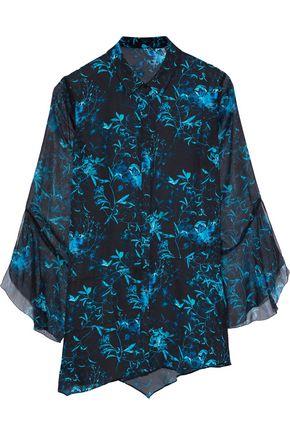 ELIE TAHARI Fluted printed silk-chiffon shirt