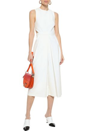 Tibi Woman Agathe Cropped Cutout Pleated Cady Jumpsuit White