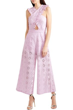ALICE McCALL Limonada ruffled broderie anglaise cotton wide-leg jumpsuit