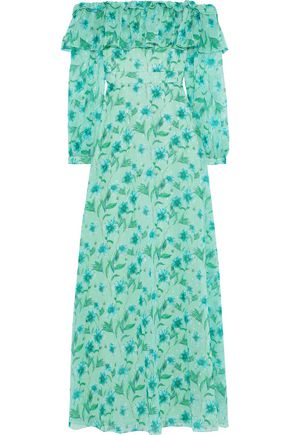 MIKAEL AGHAL Off-the-shoulder floral-print fil coupé chiffon maxi dress
