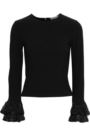 ALICE + OLIVIA Haylen embellished organza-trimmed stretch-knit top