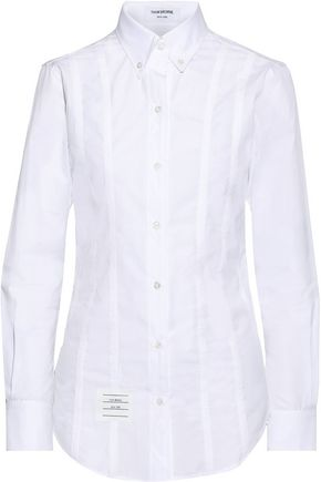 THOM BROWNE Lace-up cotton-poplin shirt