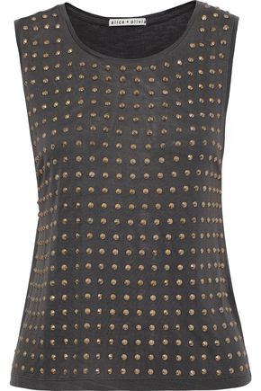 ALICE + OLIVIA Cicely studded cotton and Micro Modal-blend jersey tank