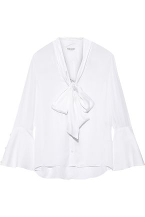 ALICE + OLIVIA Meredith pussy-bow satin-trimmed silk blouse