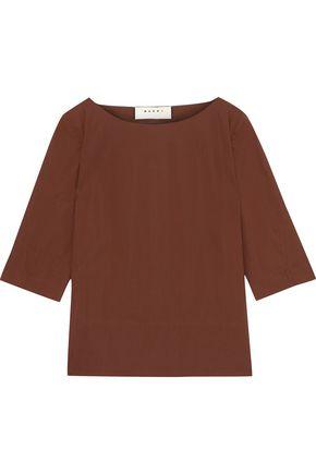 MARNI Pleated cotton-poplin blouse