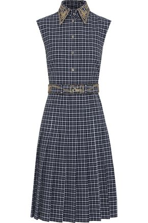 THOM BROWNE Embellished checked cotton shirt dress
