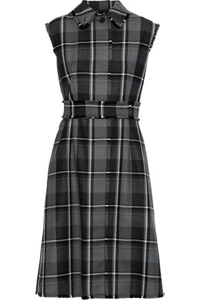 THOM BROWNE Frayed checked wool-twill dress