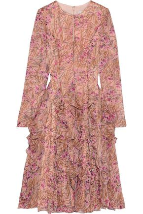 MIKAEL AGHAL Flared ruffled floral-print georgette dress