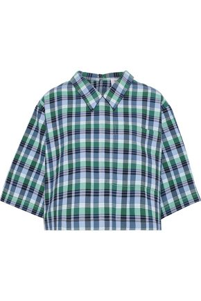 THOM BROWNE Cropped checked cotton and silk-blend shirt