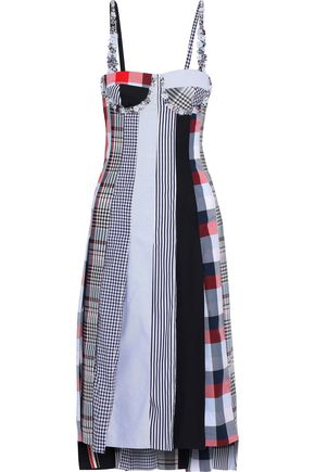THOM BROWNE Embellished paneled wool, poplin and canvas midi dress