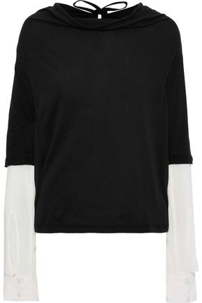 ANN DEMEULEMEESTER Layered cotton-jersey and gauze top
