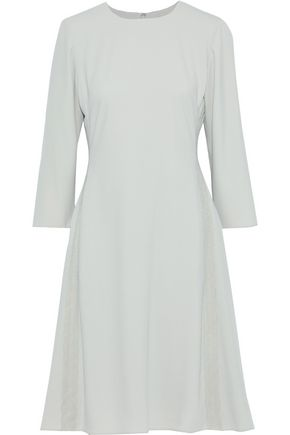 MIKAEL AGHAL Flared lace-trimmed cady dress