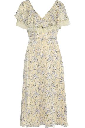 Point D'esprit Trimmed Floral Print Jacquard Midi Dress by Mikael Aghal