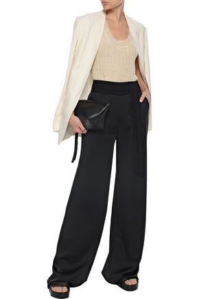 Ann Demeulemeester Woman Distressed Ribbed Mohair, Alpaca And Silk-blend Tank Ivory