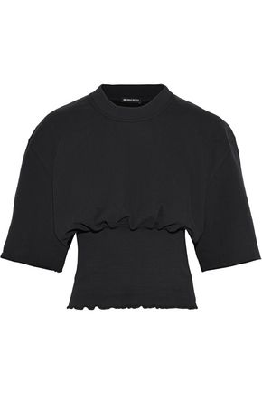 ANN DEMEULEMEESTER Cropped gathered French cotton-terry T-shirt