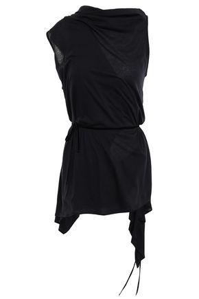 ANN DEMEULEMEESTER Velvet-trimmed cotton and silk-blend wrap top
