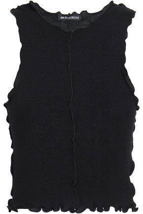 ANN DEMEULEMEESTER Cropped ruffle-trimmed wool-jersey tank