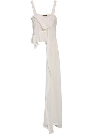 ANN DEMEULEMEESTER Draped linen-blend gauze top