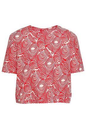 MARNI Cropped printed cotton-poplin top