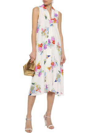 TIBI Camellia tie-neck printed silk crepe de chine dress