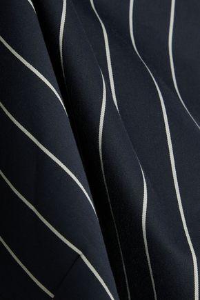 TIBI Cutout pinstriped cotton-poplin top