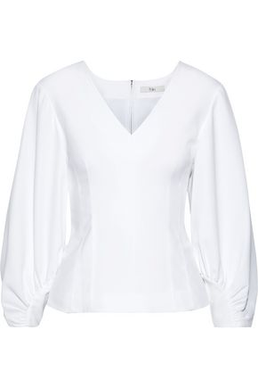 TIBI Gathered woven blouse