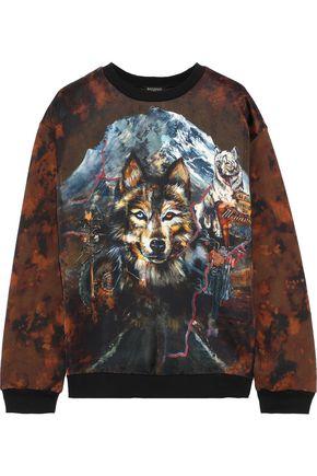 BALMAIN Satin-paneled printed French cotton-blend terry sweatshirt