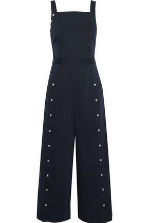 TIBI Crosby snap-detailed cutout stretch-cotton poplin jumpsuit