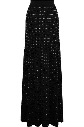 BALMAIN Studded pleated wool-blend maxi skirt
