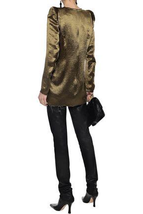 ANN DEMEULEMEESTER Frayed crinkled-satin blouse