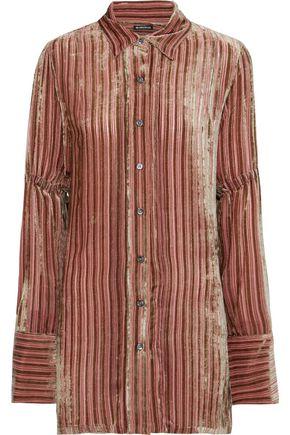ANN DEMEULEMEESTER Harlot bow-detailed striped devoré-velvet shirt