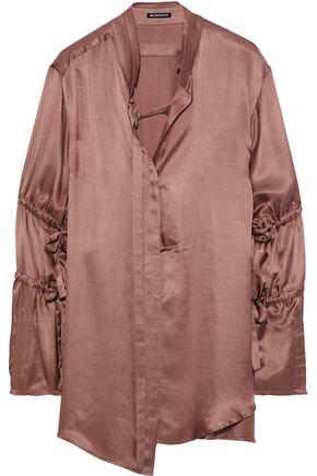 ANN DEMEULEMEESTER Asymmetric bow-detailed charmeuse shirt