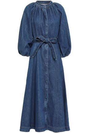 CO Belted gathered denim midi dress