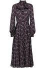 CO Fluted pussy-bow floral-print silk-satin midi dress